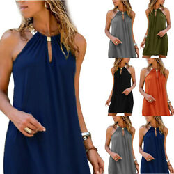 Womens Solid Sexy Halters Casual Sleeveless Dresses Beach Holiday Party Sundress $23.29