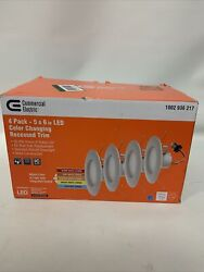 Commercial Electric 4 Pack 5 6 in. Matte White Integrated LED Recessed Trim New