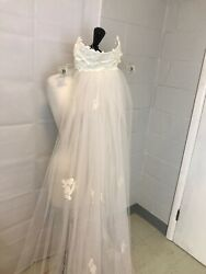 """Vintage Bridal Veil Headpiece Cathedral Length Off White Lace 2 Tiered 86"""" $70.36"""