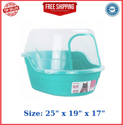 Petphabet Covered Litter Box Jumbo Hooded Cat Litter Box Holds Extra Large Teal $64.49