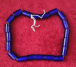 Vintage Cobalt Cylinder White Heart Beads Approx 19 20mm x 13 14mm amp; 19 Beads $14.98