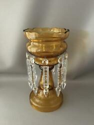 ANTIQUE LARGE BOHEMIAN GOLD AMBER GLASS MANTLE LUSTER CANDLE HOLDER w CRYSTALS $125.00