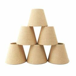 Small Lamp Shade Set of 6 Chandelier Shades 3quot; X 6quot; X 5quot; Burlap Clip On Lamps... $44.20