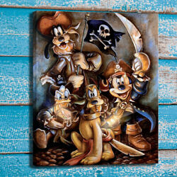 Disney Painting Mickey Mouse and Friends Crew Canvas Print Home Art Decor 16x20 $15.99