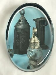 Vintage Glass Paperweight Picture of Antique Lanterns Clear $10.49