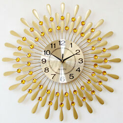 Luxury Peacock Large Wall Clock 3D Metal Living Room Wall Watch Home Decor 24H $46.98