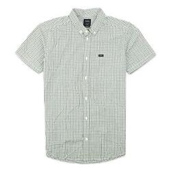 RVCA Mens That#x27;ll Do Plaid 3 Button Up S S Shirt Mirage M New $34.99
