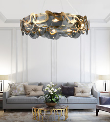 Modern 8 Lights Smoky Glass Chandelier Gold Hanging Ceiling Lighting Dia 23.6quot; $174.22