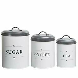 Large Kitchen Canisters Set of 3 Farmhouse Canister Sets for Kitchen $36.32