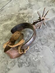 Vintage Old Western Spur Rust Leather Rodeo Collectible Rustic Decorations $24.99