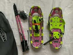 LL BEAN WINTER WALKER PINK GREEN SNOW SHOES WITH POLES amp; BAG SIZE 19 50 110 Lbs $76.67
