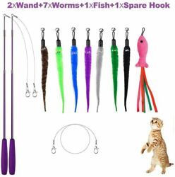 Feather Teaser Cat Toys Wand Toy Interactive Kitten Pet Play Retractable 11Pcs $14.69