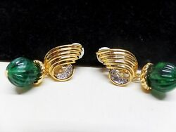 GORGEOUS VINTAGE CRYSTAL DROP MOGUL EARRINGS NEW OLD STOCK $11.40