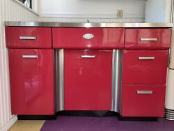 FABULOUS VINTAGE RED TRACY METAL KITCHEN CABINETS W STAINLESS STEEL SINK $1500.00