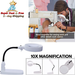 Bright Magnifier Lamp With Light Stand Flexible Magnifying LED Glass Work Sewing $48.32