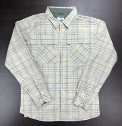 Columbia Omni Wick Long Sleeve Flannel Fishing Button Down Shirt Green Outdoor L $19.95