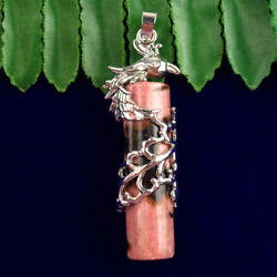 MJ77547 Phoenix Wrapped Natural Rhodonite Cylindrical Pendant Bead 50x12mm $9.34