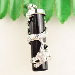 MJ77555 Dragon Wrapped Black Agate Cylindrical Pendant Bead 50x12mm $9.34
