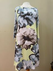 JEAN PIERRE KLIFA DRESS NWT LARGE FLORAL GREEN GREY SLIP OVER NOVELTY SIZE M $26.99