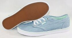 NEW Womens VANS Atwood Low Canvas Textile Blue Green Classic Sneakers Shoes 6.5 $47.00
