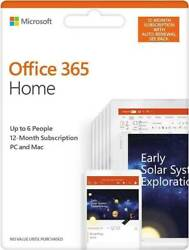 Microsoft Office 365 HOME FAMILY 1 Year Subscription of Latest MS OFFICE 6 USERS $78.95