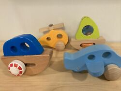 Hape wooden vehicles: Helicopter Boat Plane Sailboat Toddler Learning Kids Toys $17.99