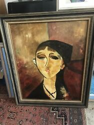 Modigliani Style Oil Antique Painting Signed . New York Artist $895.00