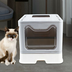 Foldable Cat Litter Box Large Pet Toilet With Cat Sand Shovel Drawer Easy Clean $46.50