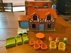 Vintage Little People #952 Brown Tudor Family Play House with some accessories $45.00