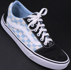 Vans Off The Wall Women#x27;s Lace Up Checkered Blue Black Shoes Skater Size 10 $38.95