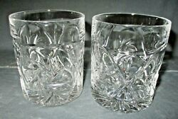 2 Antique Crystal Pinwheel Old Fashioned Whiskey Rocks Glasses Tumblers 3 3 4quot; $12.50