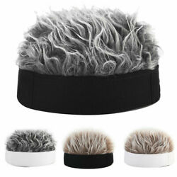 Men Women Novelty Beanie Hat With Spiked Fake Hair Funny Short Wig Cap US $10.99