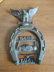 Vintage Horseshoe brass with Good Luck hands shaking and Eagle on Top $9.99