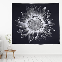 Tapestry Wall Hanging for Bedroom Black and White Cool Aesthetic Sunflower Wall $7.39