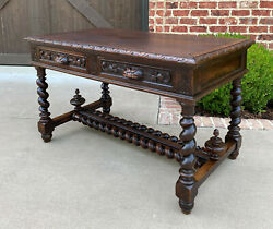 Antique French Desk Table with Drawers Oak BARLEY TWIST Library Study Office 19C $3565.00