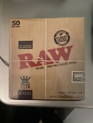 Raw Classic King Size Slim Rolling Paper Full Box of 50 Packs $30.00