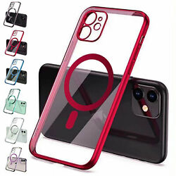 For iPhone 13 PRO MAX 13 12mini Mag Safe Cover Clear Plating Magnetic Hard Case $10.03