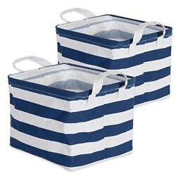 Cotton Polyester Cube Laundry Basket Perfect Extra Small Bins Nautical Blue $17.24