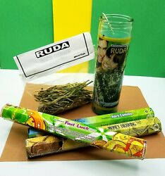 Ruda Green Candle AROMATIC VELA RUE 120 HOURS Ruda herb and 3 insence pk $30.00