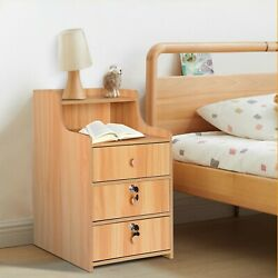 Bedside Table Bedroom Nightstand 3 Drawer With Lock Cabinet $57.99