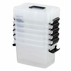 Utiao Clear Plastic Bin with Lid 5.5 Quart Latching Box with Black Handle 6 P... $39.37