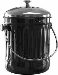 Kitchen Compost Bin for Counter or Under Sink 1.2 Gallon Small Metal Indoor $27.50