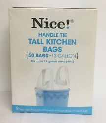"""Nice Handle Tie 50 Tall Kitchen Bags 13 Gallon 4"""" X 8"""" X 2 Ft 4"""" $10.99"""