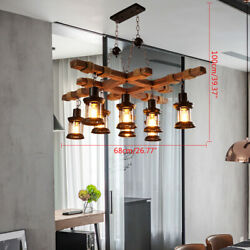Vintage Style Wooden Chandelier Ceiling Lamp Hanging Light Large Iron Light $175.05