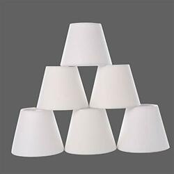 Chandelier ShadesSmall lamp Shade Hardback Clip on Shades with White Linen $41.91
