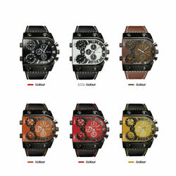 Oulm Mens Watches Quartz Casual Leather Strap Wristwatch Sports Multi Time Zone $16.53