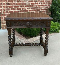 Antique French Desk Nightstand Entry Hall Writing Table Drawer Oak BARLEY TWIST $2475.00