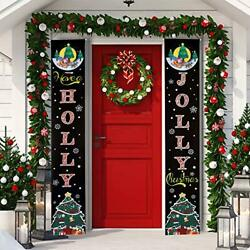 Christmas Banner Decoration Holly Jolly Christmas Quotes Porch Sign Hanging $9.48