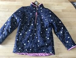 Joules Navy Pink Silver Star Winter Soft Lined Puffer Coat Jacket Size 7 8 NWT $44.99