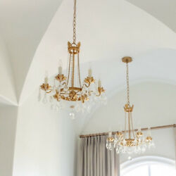 Visual Comfort STYLE Chandelier French Empire Crystal Beaded Gold farmhouse $493.00